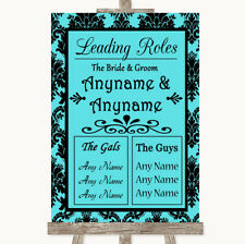 Wedding Sign Poster Print Blue Damask Who's Who Leading Roles