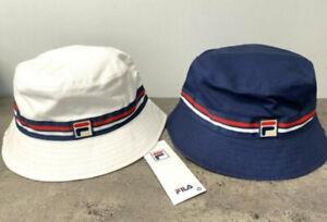 New FILA Logo Stripe Bucket Hat Cap Reversible Unisex Adult White Navy Red