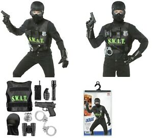 KIDS S.W.A.T. POLICE OFFICER COSTUME CHILDRENS FANCY DRESS SWAT OUTFIT BOYS