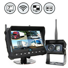 "Rearview Safety Wireless Backup Camera System 7"" Quad View Display w/Builtin DVR"