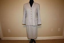Women's 12 / 14 Carlisle  2 pc skirt Blazer suit Gray Grey 100% wool Classic
