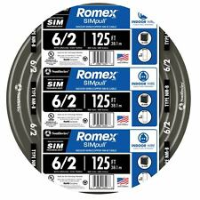 125-Ft Roll 6-2G AWG NMB Gauge Indoor Electrical Copper-Wire Ground Romex Cable