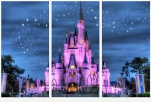 Walt Disney - Famous Castle Magic Kingdom 3 x Split Panel Canvas Pictures 10x20""