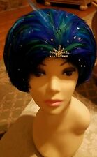 JACK MCCONEL Vintage  feather hat blue and Multicolored with stones