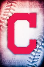 CLEVELAND INDIANS ~ STITCHED BALL LOGO ~ 22x34 POSTER MLB Major League Baseball