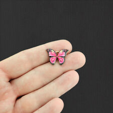 5 Pink Butterfly Gold Tone Enamel Charms - E1080