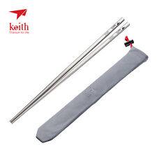 Keith Titanium 5 Pairs Ti5633 Solid Square Handle Chopsticks (Shipped from USA)