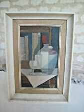 More details for vintage still life oil painting on board - contemporary frame 1961
