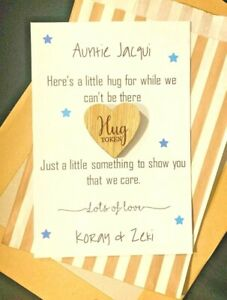Personalised Pocket Hug Token Send a Hug Family Gift Teacher Card *1st Class*