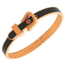 Stainless Steel Rose Gold-Tone Black Belt Buckle Handcuff Bangle Bracelet