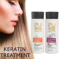 2Pc Brazilian Blow Dry Hair Straightening Keratin Treatment Shampoo 100ml Kit