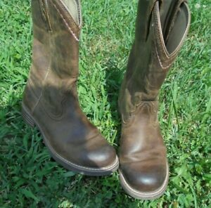 womens ARIAT brown w pink trim COWBOY Western Boots sz 7B Style 10015374 Leather