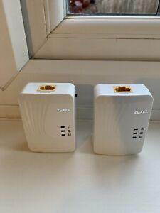 2 X  Zyxel PLA4201 v2 500 mbps Mini HD Powerline Adapters (x2) UK Plugs