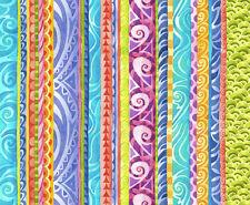 "Fabric Jewels of the Sea Decorative Festive Stripe on Aqua Cotton 11"""