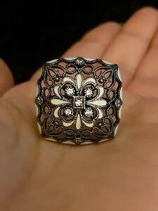 Fancy Filigree Diamond Cocktail Statement Ring $395 Black Sterling Silver JOY