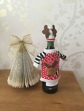 Christmas Knitted Reindeer Wine Bottle Cover Bag Gift Table Decoration New