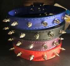 "NEW Spiked Leather Dog Collar (BLK) Fits up to 15"" Neck for MED SIZE DOG *TUES"