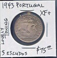 PORTUGAL - FANTASTIC HISTORICAL TONED SILVER 5 ESCUDOS, 1943 KM# 581