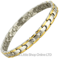 Neuf Femmes Magnétique Acier Inoxydable Bracelet 2 Ton Terre Rare Aimants Bio