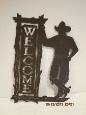 HANDMADE METAL CUTOUTS COWBOY WELCOME SIGN-NEW-FREE SHIPPING-PERFECT CONDITION!!