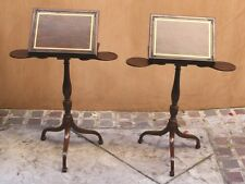 PR OF 19C ENGLISH WALNUT SIDE TABLE ,ADJUSTABLE READING BOOK CUP HOLDERS STANDS