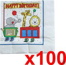 Party Napkins Birthday Serviettes Circus Happy Birthday 100pc Set NEW!