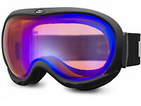 BLOC Ski Goggles IONA Unisex Small Medium Fit Matt Black/ Blue Mirror Lens IN06