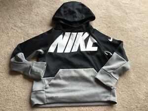 Boys Nike Dri-Fit Black & Grey Hooded Top/Over Jacket Size Small Age 8-10 Years