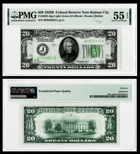 FR.2052-JLGS LIGHT GREEN 1928-B $20 DOLLAR FEDERAL RESERVE NOTE~PMG AU55 EPQ
