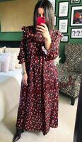ZARA NEW FLORAL PRINT LONG FLOWING DRESS SIZE S