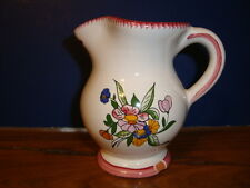Set of 4 French small hand painted terracotta jugs signed by artist Renoleau