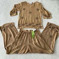 Vintage Brownstone Boutique New York 2 Piece Embroidered Rayon Set Hippie Boho
