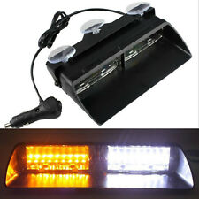 Amber /White Car Emergency Flash Hazard Warning Light Police Dash 16LED Strobe