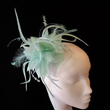 Aqua Mint Feather Fascinator For Races, Proms , Weddings