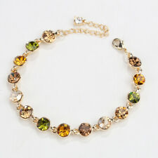 Fashion Rhinestone Green Peridot 18K Yellow Gold Plated Tennis Bracelet