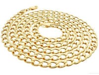 Real 10K Yellow Gold Hollow Cuban Curb Link Chain / Necklace For Men , Women