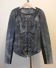 Womens GRACIA Gray Denim Zip Front Jacket Embroidery Skull Rivets Size Small XS