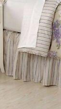 "Ralph Lauren ""Cape Elizabeth"" Striped Full Bedskirt 18"" Lavender And Tan New"