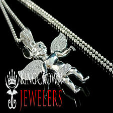 Genuine Lab Diamond White Gold Finish Angel Wings Micro Pendant Charm Chain Set