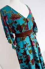 East Sarcelle Velours de soie Burn Out Robe Vintage Bleu Sarcelle Floral EDWARDIAN années 1930 14 16