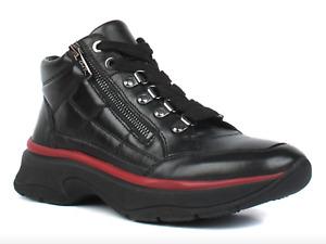 ara Roma Women EU 40 UK 6.5 Black Leather HighSoft Hi Top Trainer Ankle Boots