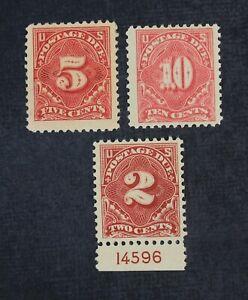 CKStamps: US Postage Due Stamps Collection Scott#J62 J64 Tiny Thin J65 Mint H OG