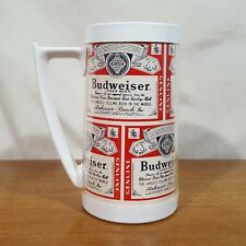 """Vintage Budweiser Thermo Serv Plastic Beer Mug Stein Cup Made in USA - 6.25"""""""