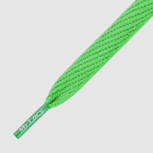 Laces Mr Lacy Flatties, Flat Green High quality laces 130 cm long,10 mm