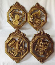 Lot of 4 Homco Wall Decor Decorations Gold Tone Musical Music Instruments 1976