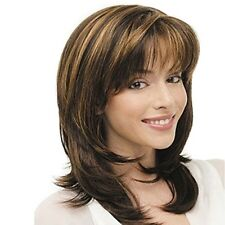 Women Mother Elegant Style Middle Length Layered Hair Wig With Bangs/fringe
