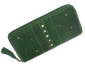 Mala Leather ZULU Ladies Leather Zip Around Purse With RFID Green