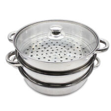 S/S Steel 3Tier Induction Hob 24CM Steamer  Multi Veg Cooker Pot Pan W Glass Lid