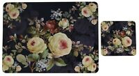Leonardo Collection Set 8 Cork Backed Placemats & Coasters Floral Rose Blossom