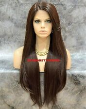 Lace Front Full Wig Extra Long Layered Straight Brown Heat Ok Hair Piece #4 NWT